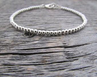 Sterling Silver Bead Bracelet, 2mm Bracelet, Sterling Silver Bracelet, 925 Sterling Bracelet, Silver Bride Bracelet, Sterling Stack Bracelet