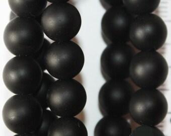 """Shungite Beads - Round 8 mm Gemstone Beads - Full Strand 16"""", 49 beads, Matte finish"""