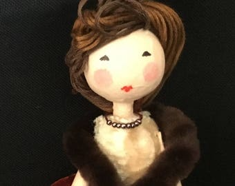Ooak art doll in velvet skirt