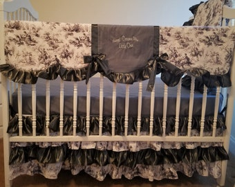 Three Tier Gray Crib Bedding Set With Embroidery