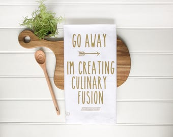 Tea Towel - Kitchen Tea Towel Culinary Fusion Towel Kitchen Towel Kitchen Decor Farmhouse Decor Dish Towel Kitchen Gift Foodie Gift Chef