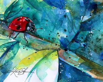 Ladybug ... Canvas Art Print . Original watercolor painting by Kathy Morton Stanion  EBSQ
