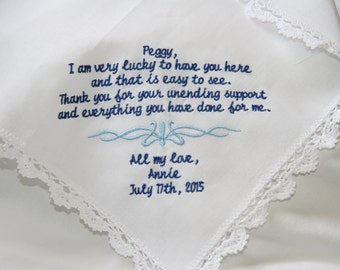 Sister-Aunt-Godmother- Friend Gift Embroidered Wedding Lace Handkerchief
