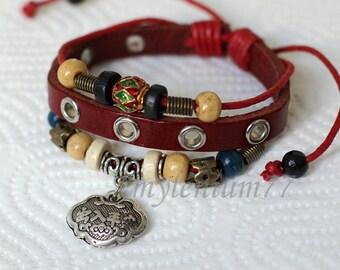 457 Women bracelet Girls bracelet Long life bracelet Prosperity bracelet Safe journey bracelet Leather bracelet Fashion bracelet