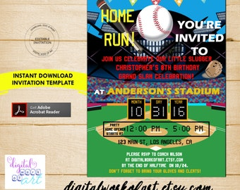 Baseball Party Invitation Template, Baseball Party, Birthday, baseball invitation invite, editable invitation template, PDF instant download