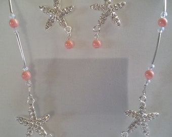 Starfish Necklace, Earrings, Swarovski, Pink Coral, Curved Tube beads, Under 25.00