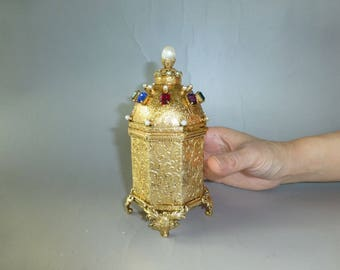 Vintage German Gold Gilt Case Music Box With Reuge Swiss Musical Movement inside. Music Play Beautifully ( WATCH THE VIDEO )