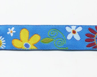 Turquoise flower Ribbon by the meter, fancy woven blue jacquard trim