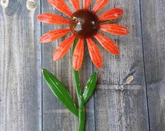 Vintage bright orange flower brooch