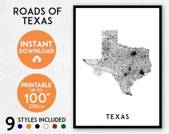 Texas map print, Printable Texas map art, Texas print, USA map, Texas art, Texas poster, Texas wall art print, Texas gift, Map of Texas