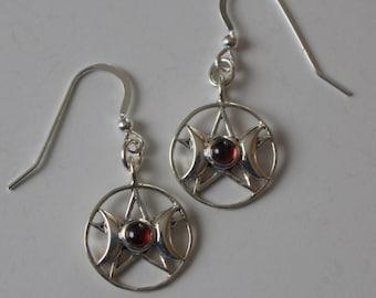 Sterling Silver TRIPLE GODDESS with Garnet Earrings  - French Earwires -