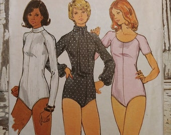 """Turtleneck or Round Neck Bodysuits for Stretch Knits Sewing Pattern, Butterick 3193, SIze 10, Bust 32 1/2"""", Vintage 1970s, Cut & Complete"""