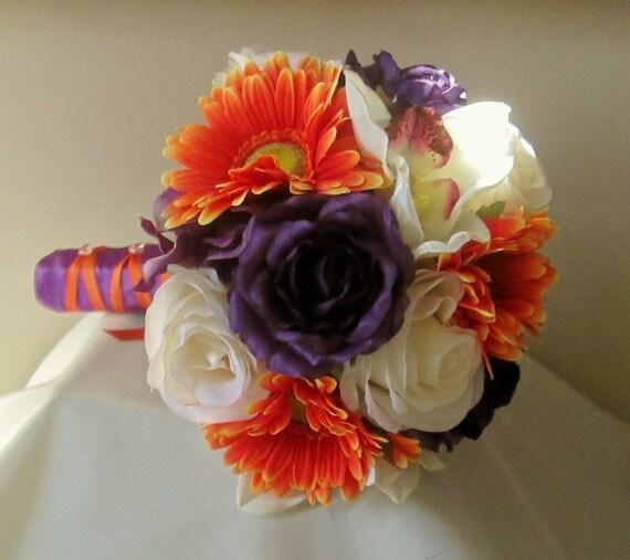 Gerbera Flower Wedding Bouquets: Purple And Orange Bridal Bouquet Rose And Gerbera Daisy