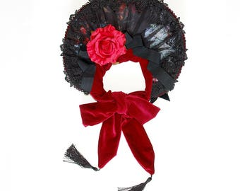 Gothic lolita bonnet dark red gothic hat classic lolita fashion victorian mourning historical costume hat black rose lace red rose headpiece