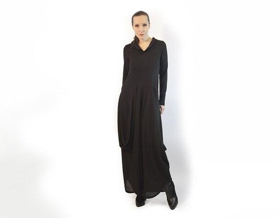 Kleid schwarzes Kleid langes Kleid lange Ärmel dunklen