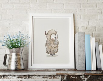 Owl Mother Love, Woodland nursery decor, Nursery decor wall art, baby shower decorations, Woodland animal nursery, girl nursery decor