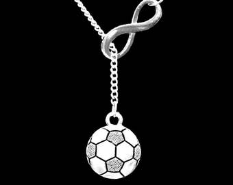 Soccer Necklace, Sports Necklace, Soccer Mom Mother Necklace, Infinity Y Lariat Necklace