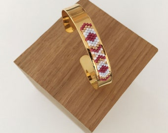Cuff Bracelet woven fuchsia & light blue / / FLAVIE