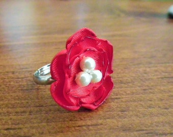 RED satin flower ring, with faux pearls - ladies' size 6.5+  adjustable bridesmaids jewelry, satin statement ring, ready to ship