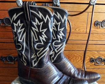 Vintage Tony Lama, Stitched Armadillo, Retro Lizard, Country Western Cowboy Boots, Women's Size 6 1/2 B