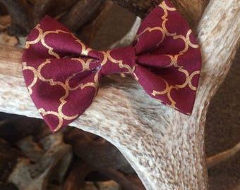 Maroon & Gold Pet Bow Tie