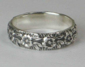 Silver Pattern Ring Flower Sterling Silver 925