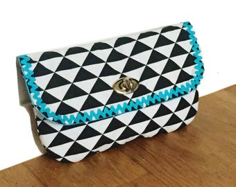 cotton pouch lined with geometric pattern