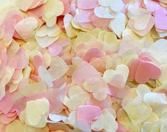 Pink confetti - biodegradable - wedding decoration - pink and cream confetti hearts - eco friendly - throwing confetti - vintage wedding