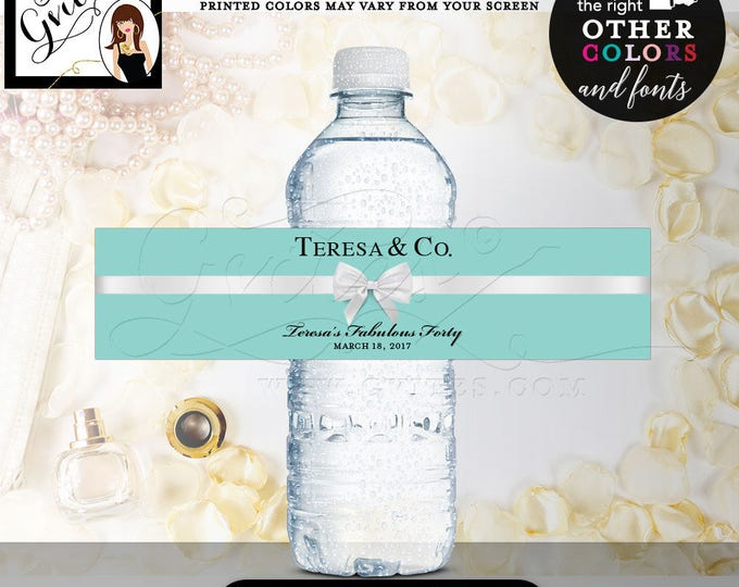 """Blue water bottle labels, fabulous forty, 40th birthday, breakfast at stickers, tags,decor, favors, gifts. PRINTABLE 8x2"""" 5 Per Sheet"""