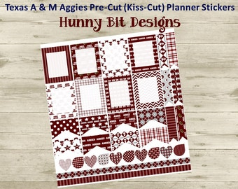 Erin Condren Planner Texas A & M Football Precut Kisscut Peel and Stick Stickers Flags Rectangle Boxes Labels Maroon, White, Gray
