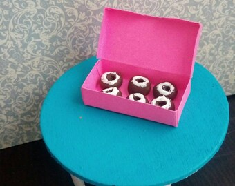 1:6 Scale Chocolate Donuts White Frosting, 6 Miniature Donuts in a Pink Box