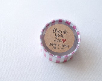 """30 Kraft 1.5"""" Round Sticker Label Tags - Custom Wedding Favor & Gift Tags - Thank You With Love Kraft"""