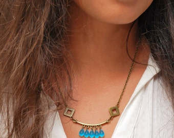 Rustic bronze necklace, Turquoise necklace, Gypsy necklace, Hippie beads necklace, geometric necklace