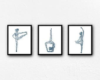 Yoga Art Prints, Flexible and Strong 3 pc Collection in sailor blue, Digital Download, Digital Art