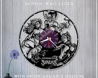 Acrylic Clock Gotham Sirens /DC Wall Clock *A069 Crystal Clock/Mirror Clock/Catwoman Clock/Harley Quinn Clock/Poison Ivy Clock /DC Fan Gift