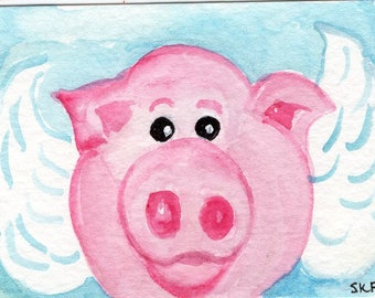 Original ACEO Flying Pig Face watercolor painting, when pigs fly, original art