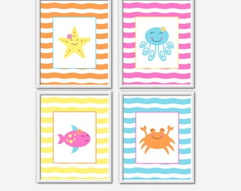 Kids Bath Wall Art Under the Sea Fish Crab Octopus Starfish Yellow Blue Pink Orange Kids Bath Prints Children Bathroom Art Sea Creatures Art