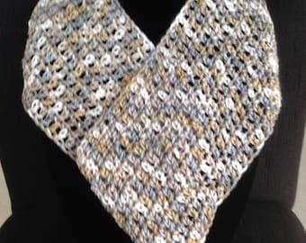 Handmade Crochet Cowl Infinity Scarf Gold, Gray, White