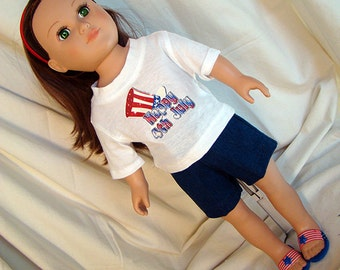 """Fourth of July T-Shirt and Blue Denim Shorts w Patriotic Sandals; for American Girl or Boy Style 18"""" Dolls! School n Dress Up Doll Clothes"""