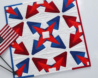 Patriotic Wall Hanging, Modern Wall Decor, Quilted Wall Hanging, Red, White And Blue Quilt, Textile Art, Geometric Quilt