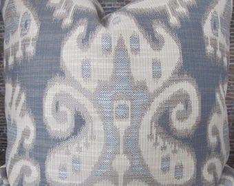 3BM Designer Pillow Cover 16 x 16, 20 x 20, 22 x 22, 24 x 24 - Kravet Ikat Jacq - Medium Grey