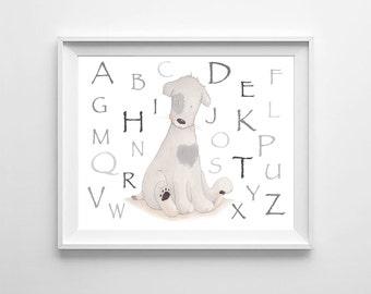 Abc Alphabet Nursery Wall Art,Abc Boys Room Art,Abc Kids Room,Alphabet Boys Art,Abc Baby Boy,Abc Children Art,Abc Decor,Alphabet Animal