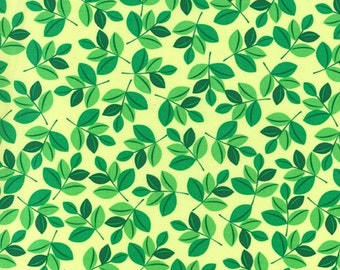 FAT QUARTER ONLY- Wild Leaves on Mint from Michael Miller
