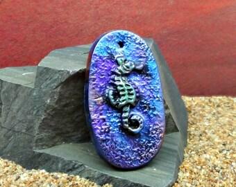 40 x 22 mm oval Seahorse Pendant - handmade - simulated Raku - Polymer Clay