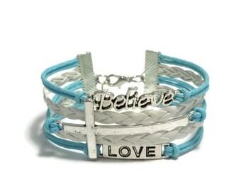 Christian Bracelet, Cross Bracelet, Love Bracelet, Believe Bracelet, Believe Jesus Love Bracelet, Faith Bracelet, Blue Cross Bracelet