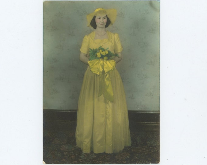 Hand Colored 5x7 Vintage Photo of Bridesmaid, c1930s (611522)