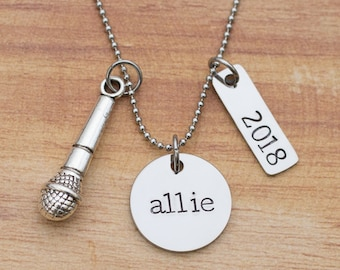 Personalized hand stamped singing necklace - gift for singer - music jewelry - graduation gift - gift for choir teacher - vocalist gift