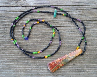 Picasso jasper and seed bead strand