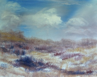 Beach Dunes, Blue Sky, Clouds, Original Acrylic Painting, Peaceful, Zen, Vacation, Calm, Soft, Living Room, Dining Room, Bedroom, Office