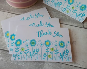 Set of 4 Garden Party Thank You Notes - Floral Hand Stamped Thank You Cards - Bridal Shower - Baby Shower - Custom Quantities Available